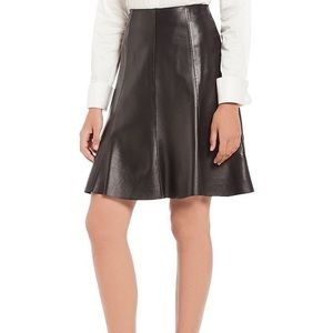 NWT Antonio Melani ALine Maren Black Leather Skirt